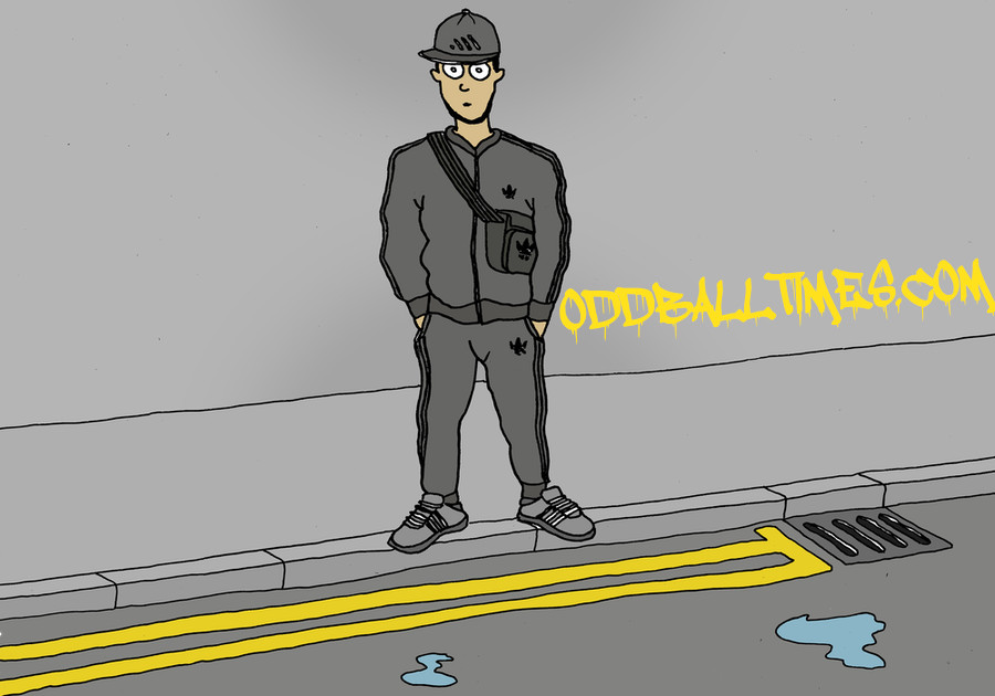 A cartoon of a roadman wearing an Adidas tracksuit standing in the Ends. By Oddball Times