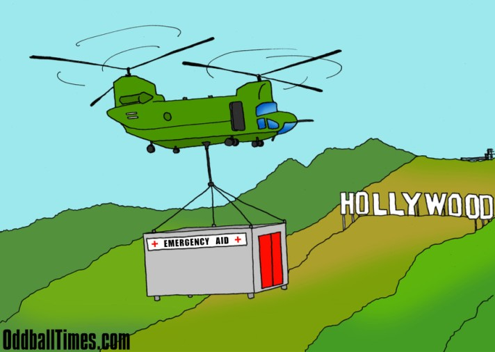 A cartoon of a chinook helicopter bringing emergency aid to the Hollywood hills. By Oddball Times