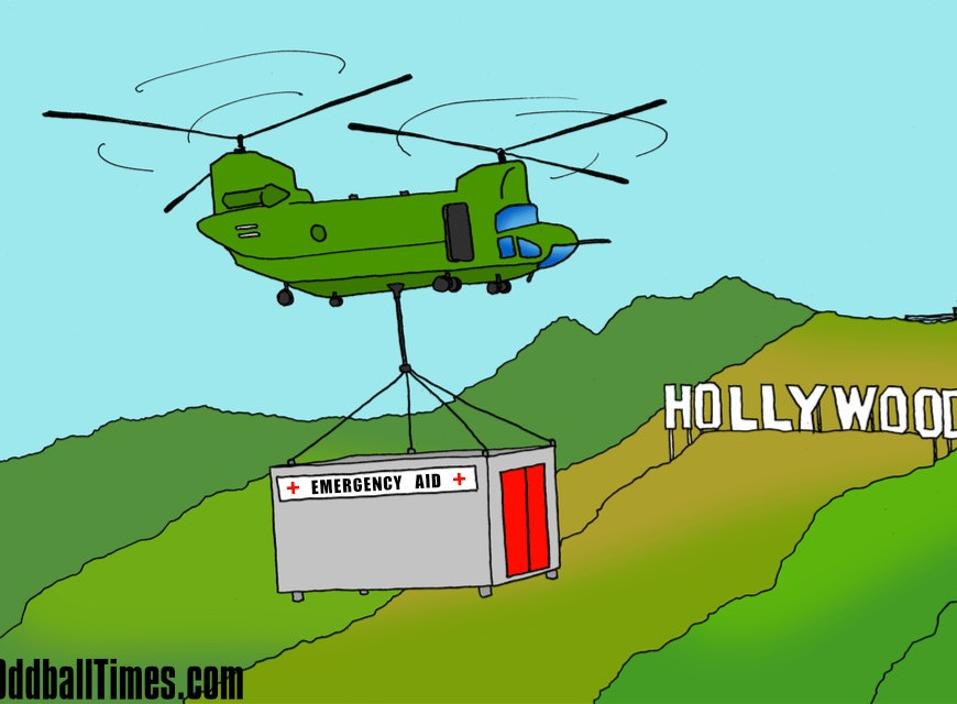 A cartoon of a chinook bringing emergency aid to the Hollywood hills. By Oddball Times