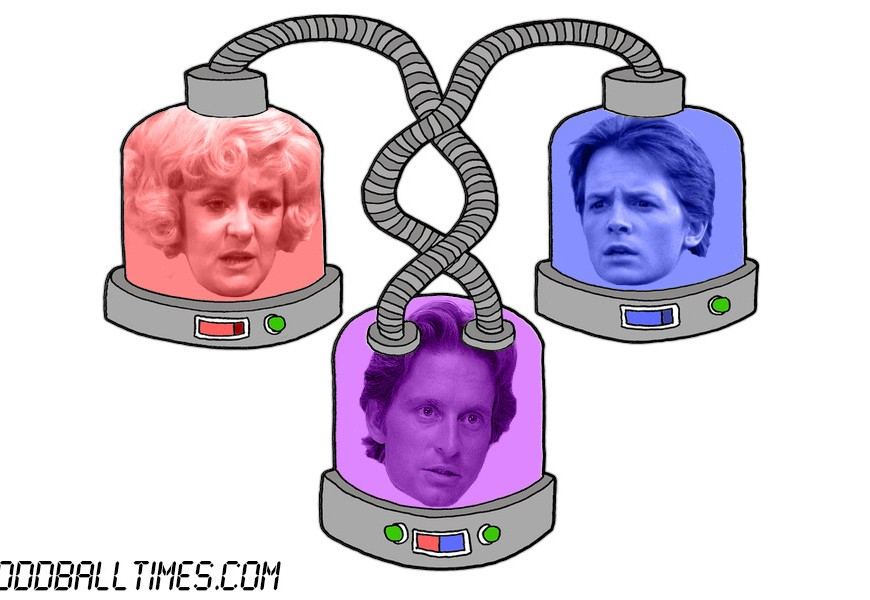 A cartoon of three pods with Michael J Fox, Lynne Perrie, and Michael Douglas' heads in them. By Oddball Times