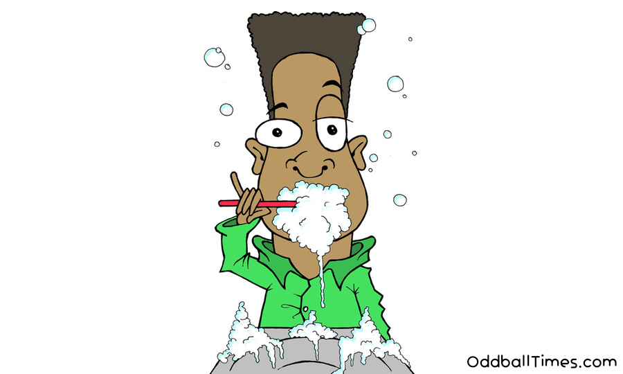 A cartoon of a man brushing his teeth with lots of foam. By Oddball Times