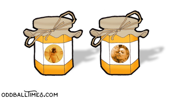 A cartoon of a pot of honey with Beyoncé Giselle Knowles-Carter's face on it. By Oddball Times