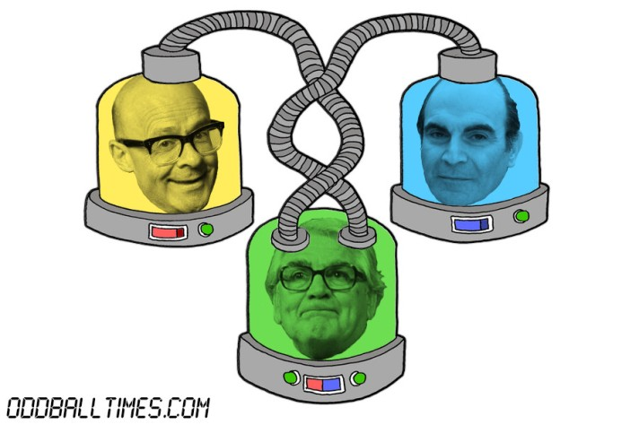 A cartoon of three pods with Harry Hill, David Suchet, and Harry Worth's heads in them. By Oddball Times