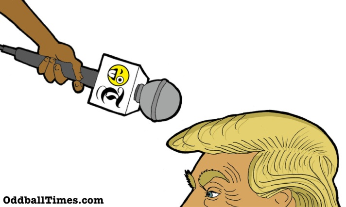 A cartoon of a microphone pointing at Donald Trump's hair. By Oddball Times