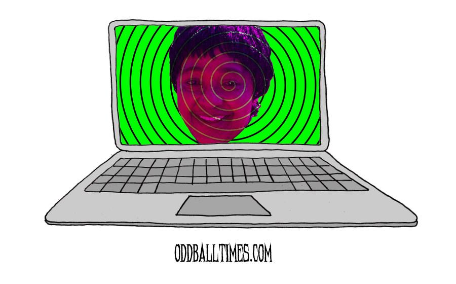 A cartoon of Winnie Mandela on a computer screen. By Oddball Times