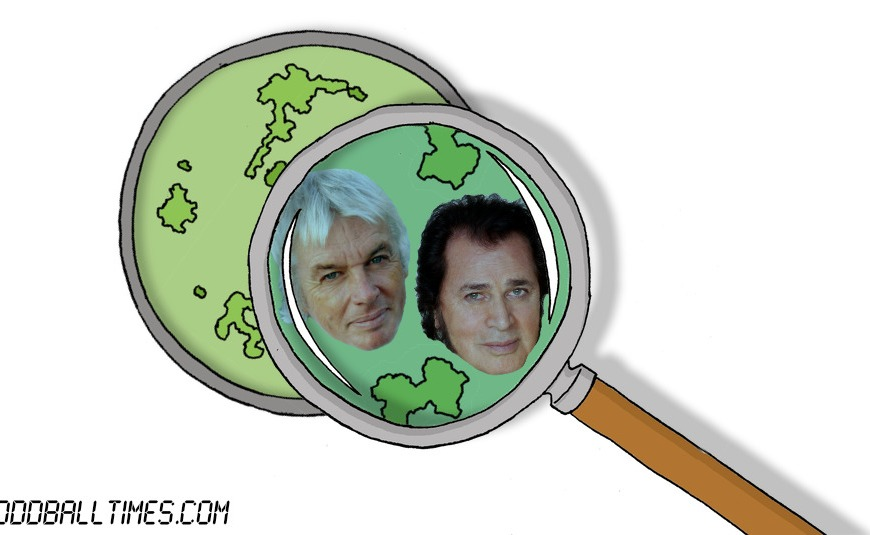 A cartoon of a petri dish with David Icke and Engelbert Humperdinck inside. By Oddball Times