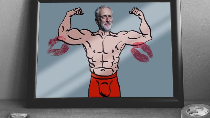 A picture of Jeremy Corbyn with muscles to illustrate his fan's perception of him. By Oddball Times