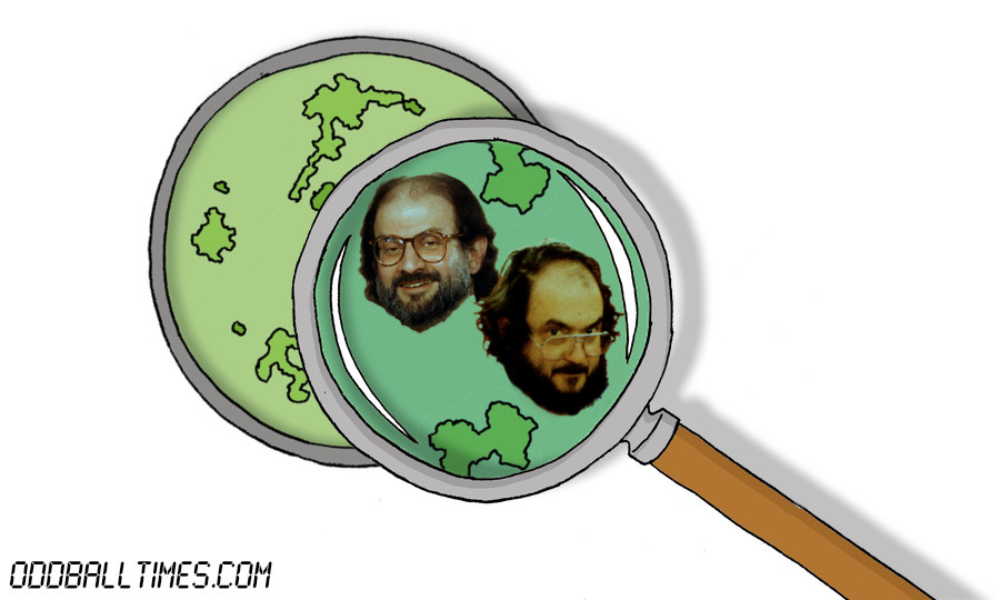 A cartoon of a petri dish with Salman Rushdie and Stanley Kubrick inside. By Oddball Times
