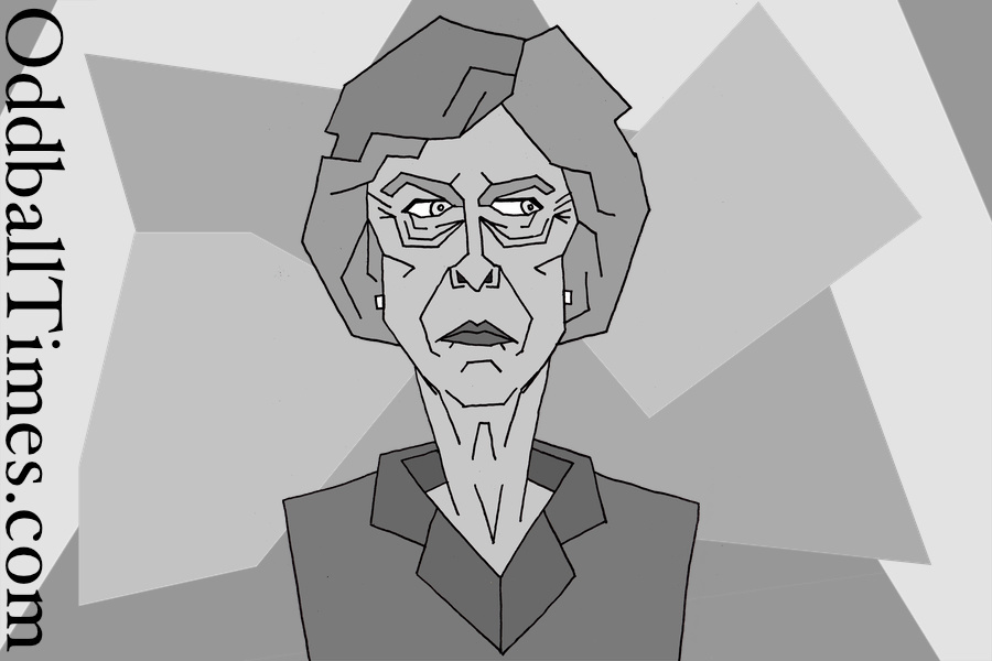 A caricature of a grey and miserable Theresa May with a cubist influence. By Oddball Times