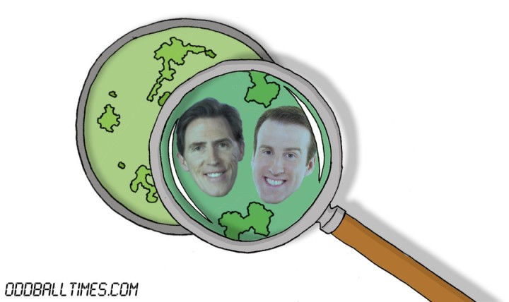 A cartoon of a petri dish with Rob Brydon and Anton Du Beke inside. By Oddball Times