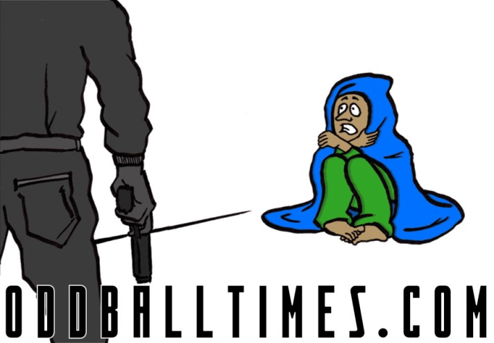 A cartoon of someone without a weapon facing a burglar with a gun. By Oddball Times