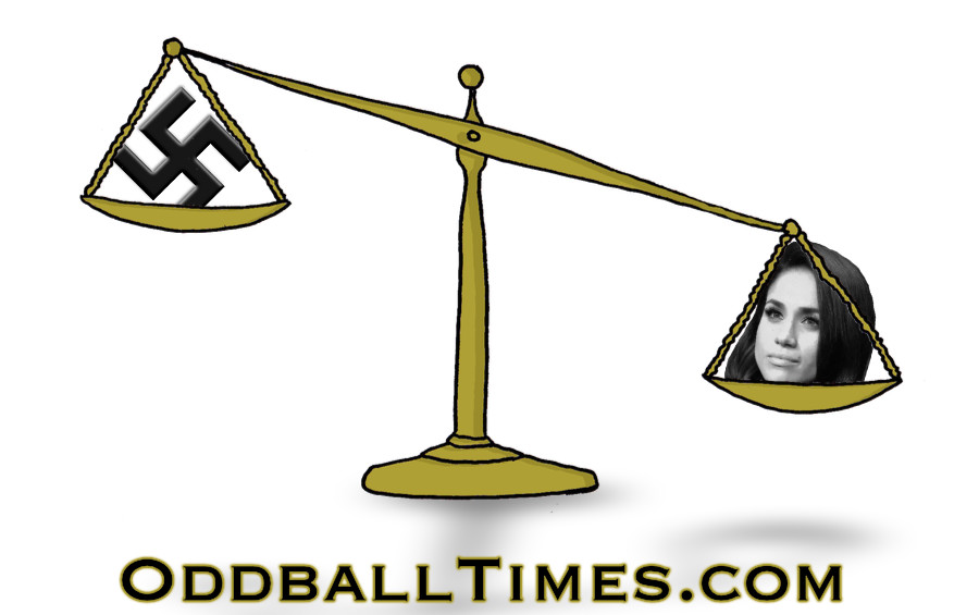 A cartoon image of a scale with Meghan Markle tipping over the Nazi swastika. By Oddball Times