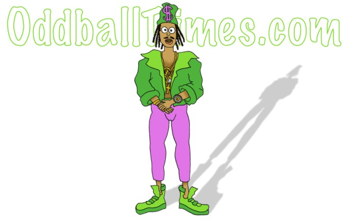 A cartoon image of a rapper wearing skinny jeans by Oddball Times