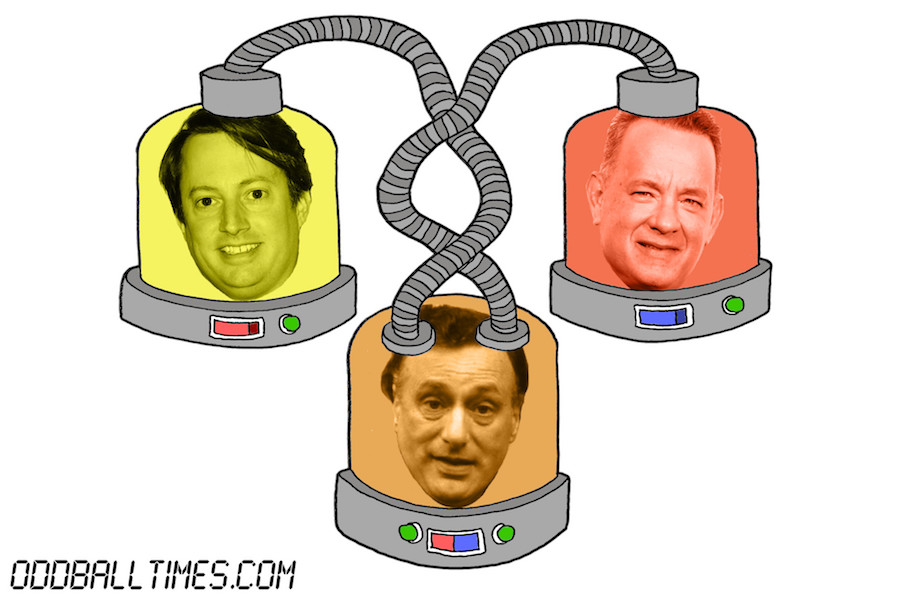 A cartoon of three pods with David Mitchell, Tom Hanks, and Paul Eddington's heads in them. By Oddball Times