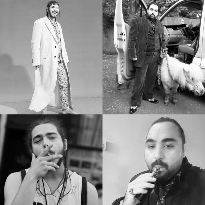 Photographs of Post Malone and Chabuddy G showing similar poses 1 of 7