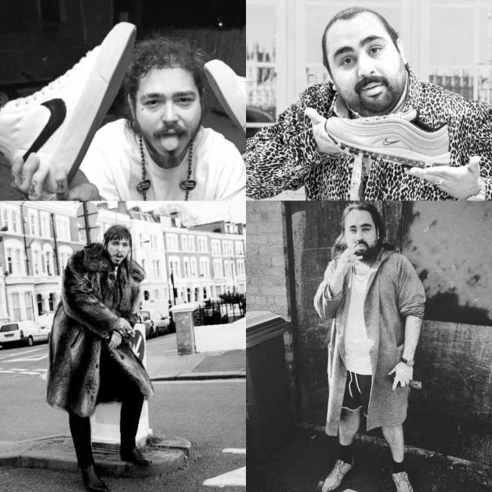 Photographs of Post Malone and Chabuddy G showing similar poses 2 of 7