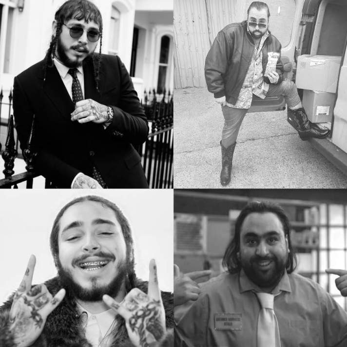 Photographs of Post Malone and Chabuddy G showing similar poses 3 of 7