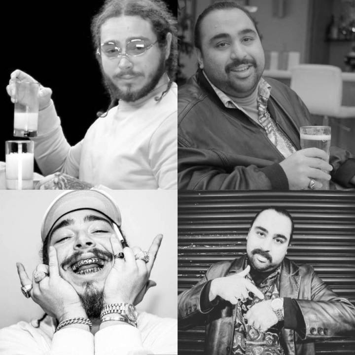 Photographs of Post Malone and Chabuddy G showing similar poses 4 of 7