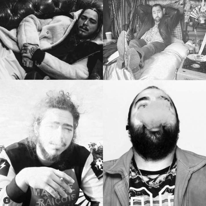 Photographs of Post Malone and Chabuddy G showing similar poses 5 of 7