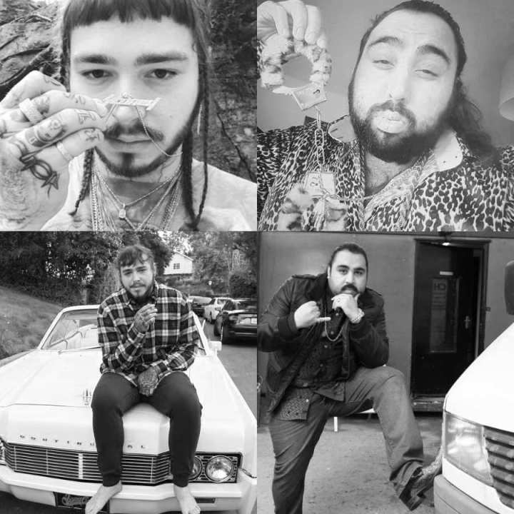 Photographs of Post Malone and Chabuddy G showing similar poses 7 of 7