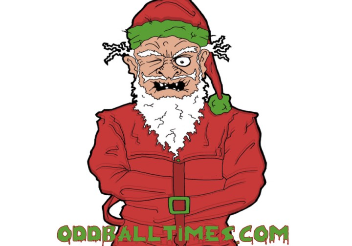 A cartoon illustration of Santa Claus wearing a straight jacket. By Oddball Times