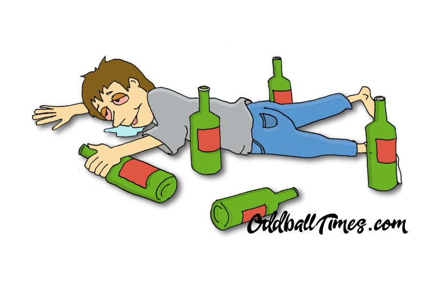 A cartoon of a drunk man lying on the floor among empty bottles by Oddball Times