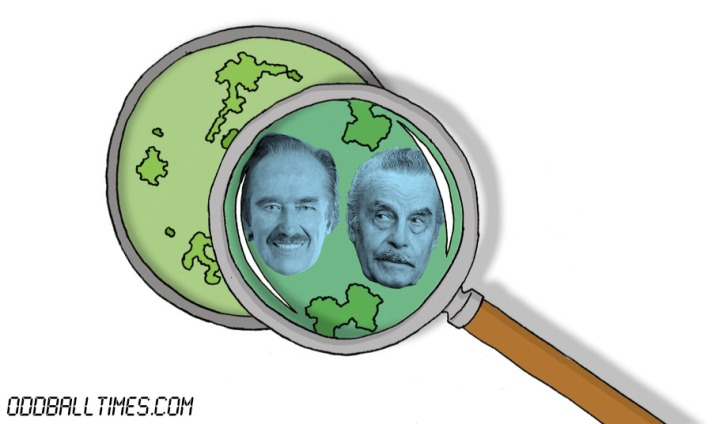 A cartoon of a petri dish with Fred Trump and Josef Fritzl inside. By Oddball Times