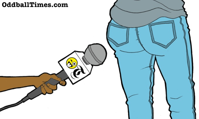 A cartoon of a microphone pointing at Kim Kardashian's backside or rear. By Oddball Times