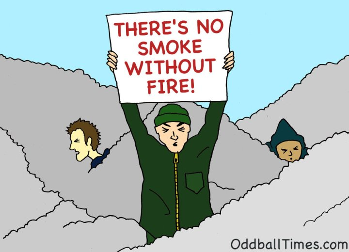 A cartoon image of protesters choking on smoke by Oddball Times