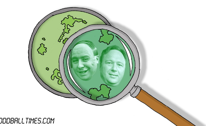 A cartoon of a petri dish with Alex Jones and The Baldy Man inside. By Oddball Times