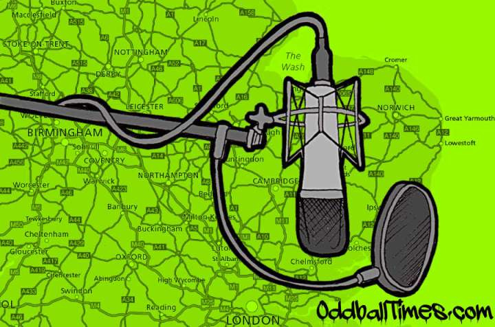 An illustration of a studio microphone and pop filter over a motorway map. By Oddball Times