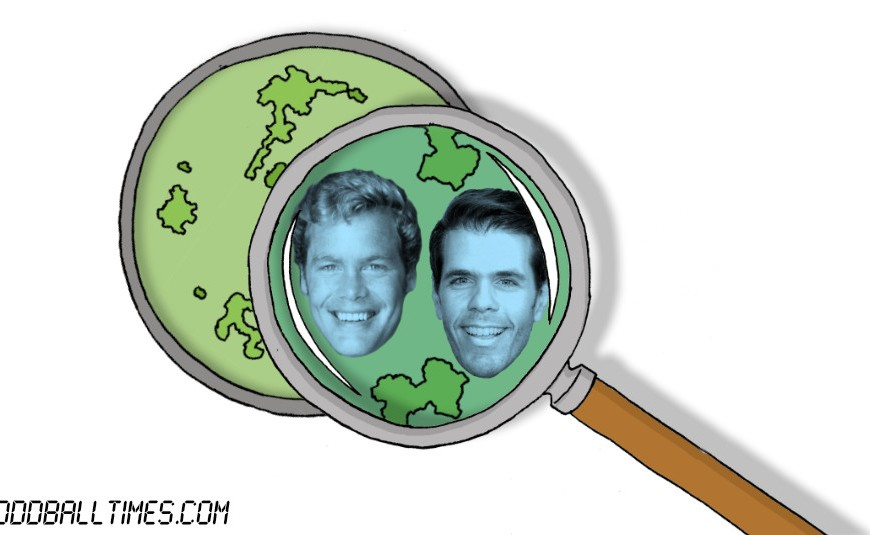 A cartoon of a petri dish with Perez Hilton and Doug McClure inside. By Oddball Times
