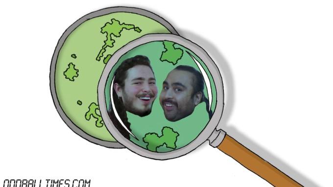 A cartoon of a petri dish with Post Malone and Chabuddy G inside. By Oddball Times
