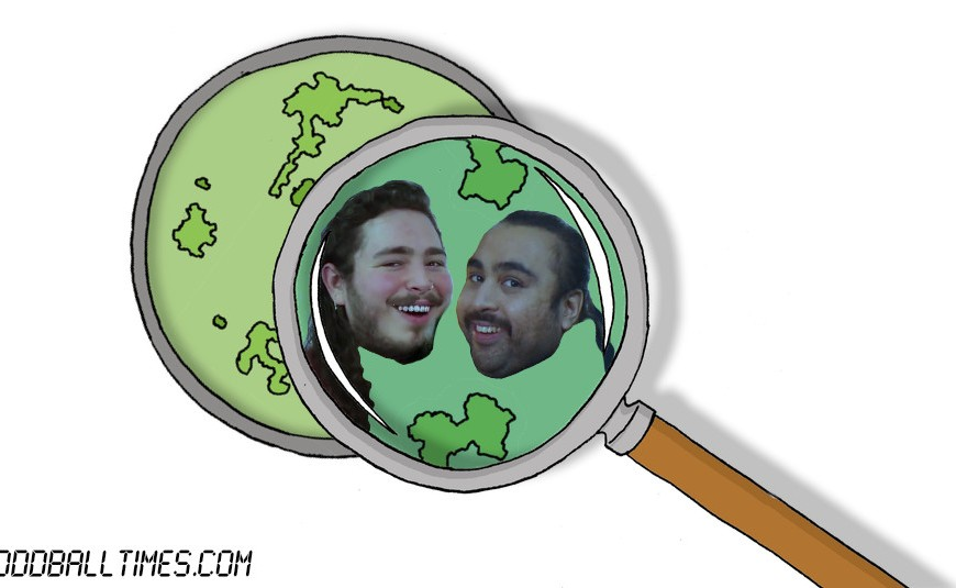 A cartoon of a petri dish with Post Malone and Chabuddy G inside. By Oddball Times