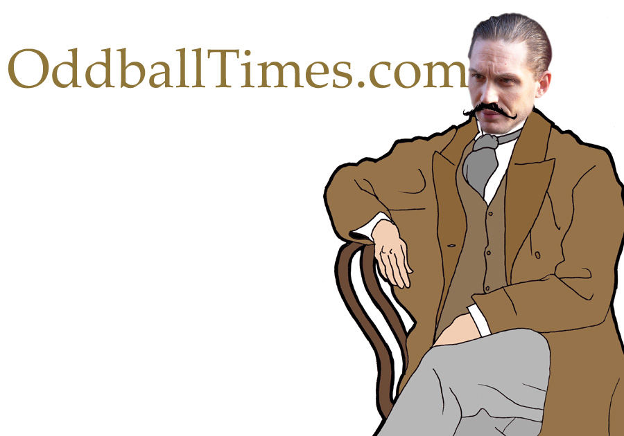 A cartoon image of actor Tom Hardy dressed as novelist and poet Thomas Hardy. By Oddball Times