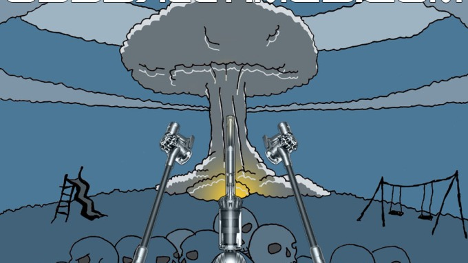 A cartoon illustration of Dyson vacuums in a post-apocalyptic wasteland with a mushroom cloud. By Oddball Times