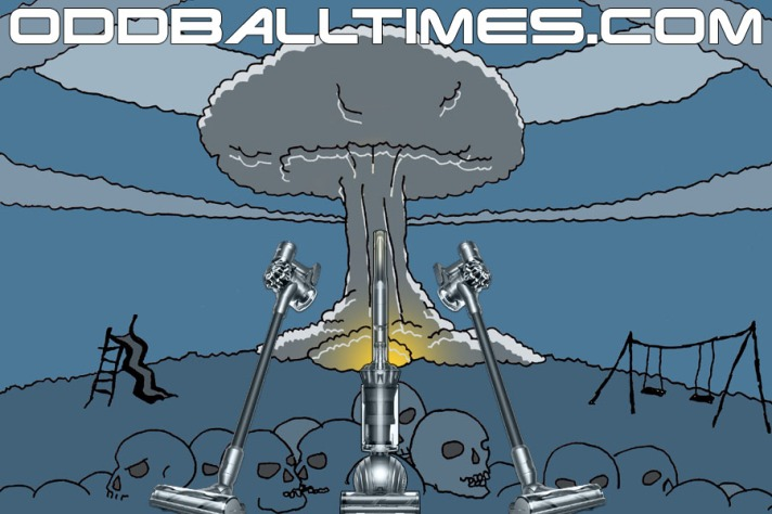 A cartoon illustration of Dyson vacuum cleaners in a post-apocalyptic wasteland with a mushroom cloud. By Oddball Times