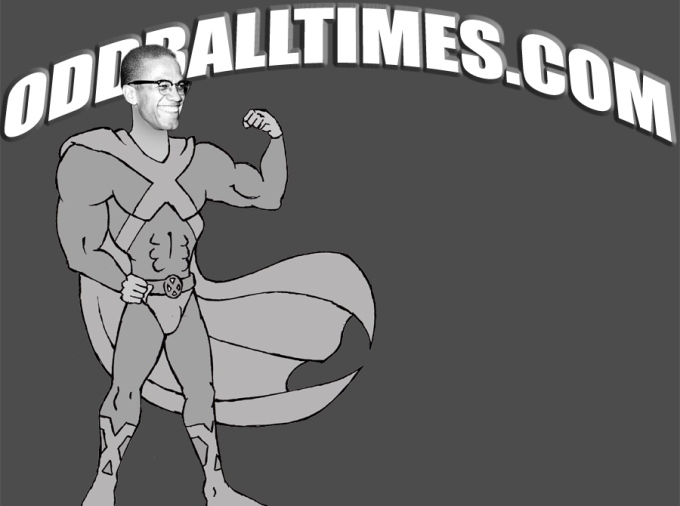 A cartoon image of Malcolm X in a superhero costume. By Oddball Times