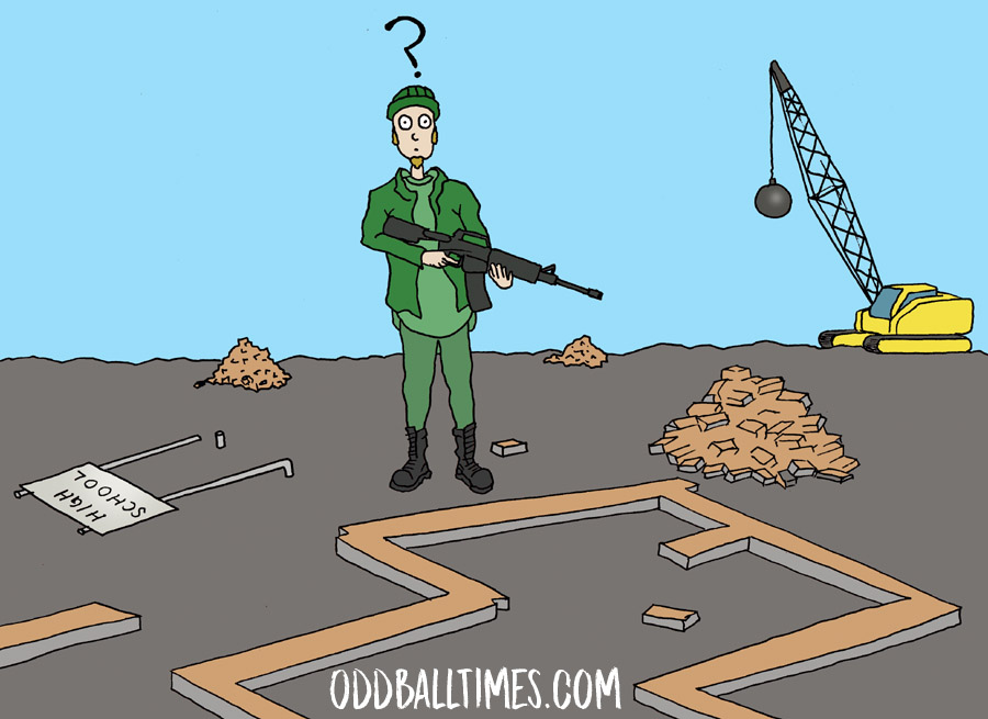 A cartoon illustration of an active school shooter in the rubble of a dismantled school building. By Oddball Times