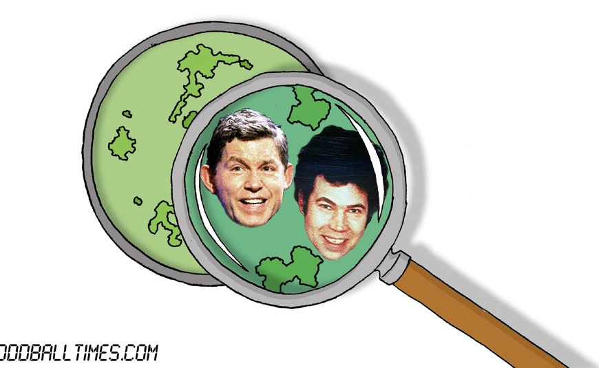 A cartoon of a petri dish with Lee Evans and Fred West inside. By Oddball Times