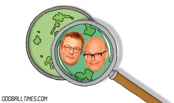 A cartoon of a petri dish with Hugh Fearnley-Whittingstall and Harry Hill inside. By Oddball Times