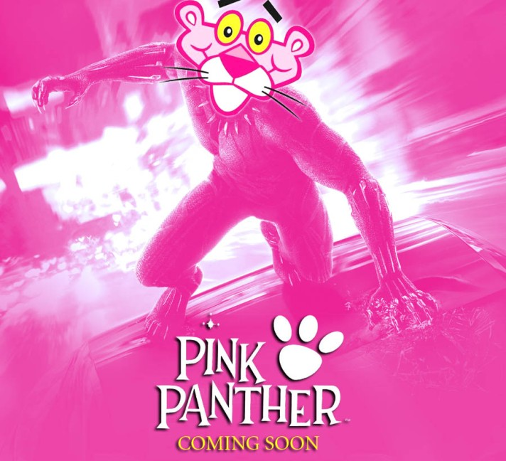 A parody of Marvel's Black Panther movie poster with DePatie–Freleng Enterprises' Pink Panther. By Oddball Times