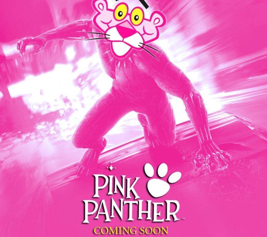 A parody of Marvel's Black Panther movie poster with Pink Panther. By Oddball Times