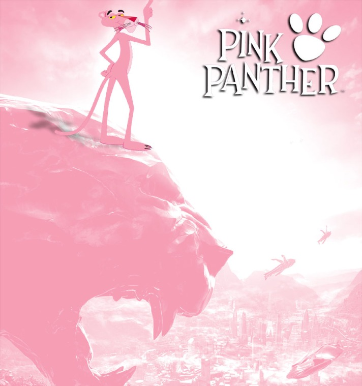 A parody movie poster for Friz Freleng and Blake Edwards' Pink Panther copying the Black Panther poster