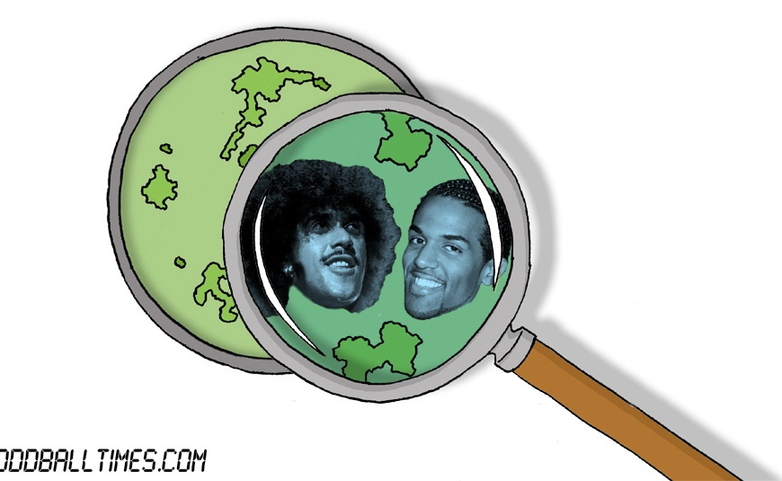 A cartoon of a Petri dish with Phil Lynott and Craig David inside. By Oddball Times