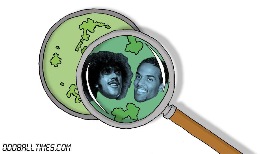 A cartoon of a Petri dish with Phil Lynott and Craig David inside. By Oddball Times