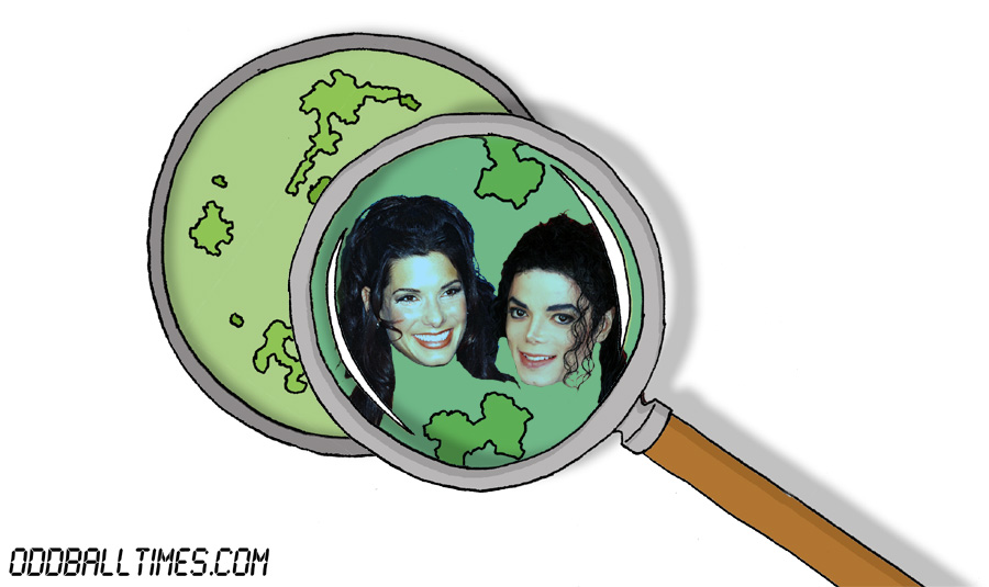 A cartoon of a Petri dish with Sandra Bullock and Michael Jackson inside. By Oddball Times