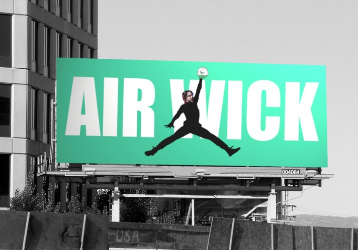 A billboard mockup of the John Wick Air Wick tie-in advert. By Oddball Times