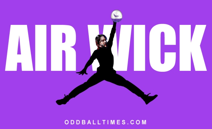 A parody advert for Air Wick using the character of John Wick holding the air freshener and posing as the Jumpman Logo. By Oddball Times