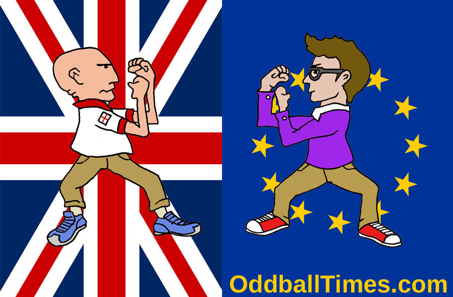A cartoon of a Remain voter and a Leave voter fighting in front of a British and E.U. flag. By Oddball Times